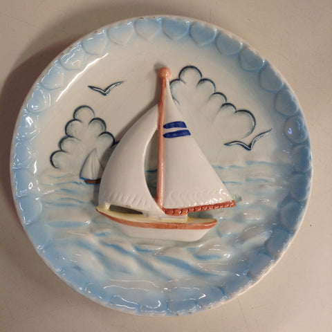 Vintage Ceramic Wall Hanging Plate Sailboat Scene in Relief with Sculpted Waves