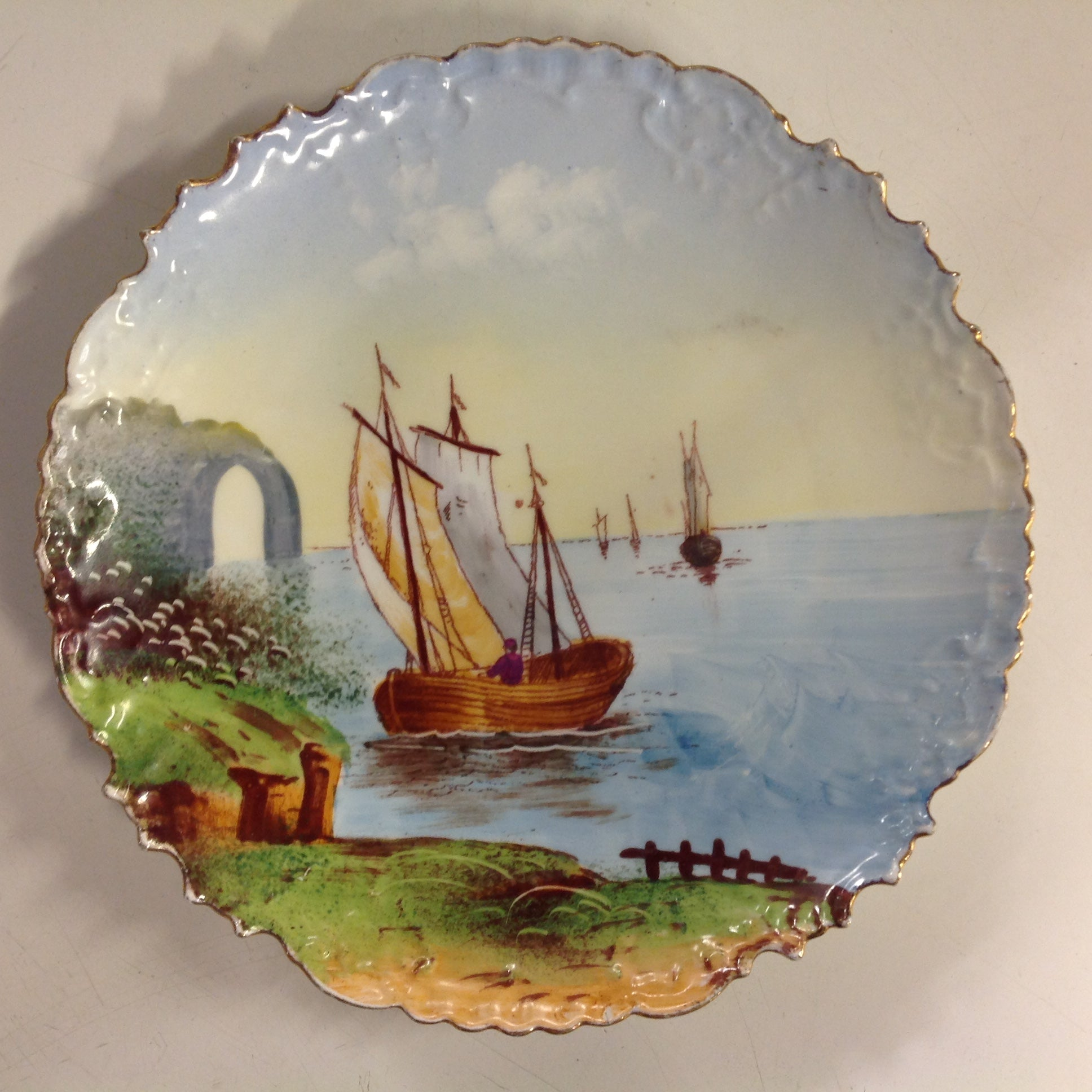 Vintage Limoges Porcelain Collector's Plate with Pastoral Sailing Scene