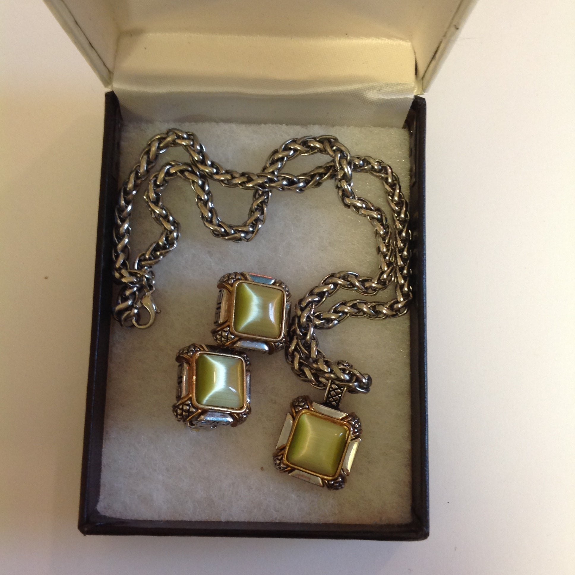 Vintage 1990's Chain Necklace and Clip-On Earrings Set Olive Glass Stone Geometric and Clusters Motif