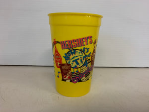"Vintage 1992 Hershey's Chocolate Syrup ""Now it's Time 4 Chocolate"" Plastic Yellow Drink Cup"
