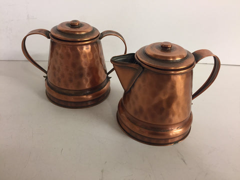 Vintage Solid Gregorian Copper Hammered Cream & Sugar Containers