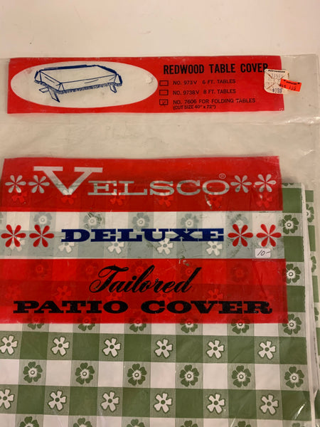 Vintage Velsco Vinyl Green Checkered Daisy Tailored Redwood Picnic Table Patio Cover NOS