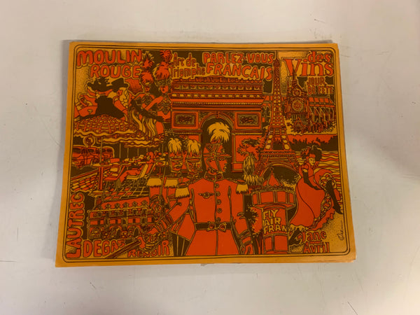 Vintage 1970's Burnt Orange Air France Place Mat  Art History Culture Travel