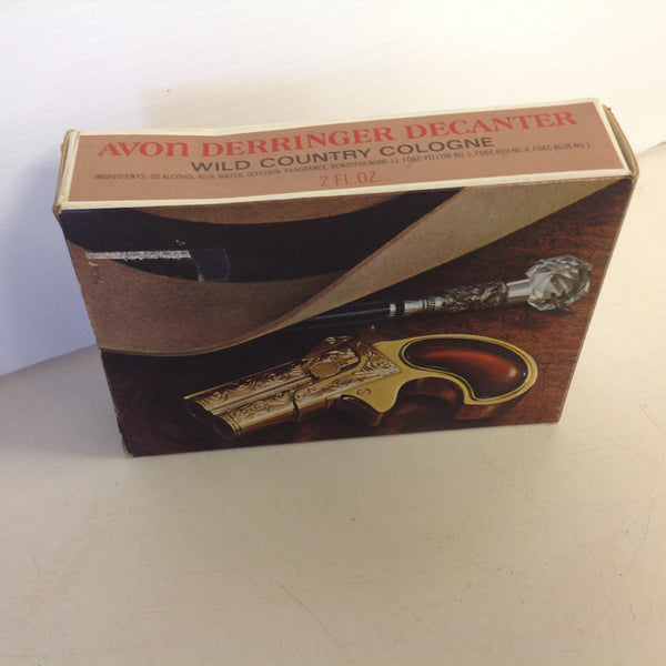 Vintage 1970's AVON Derringer Decanter Wild Country Cologne Unopened with Original Box