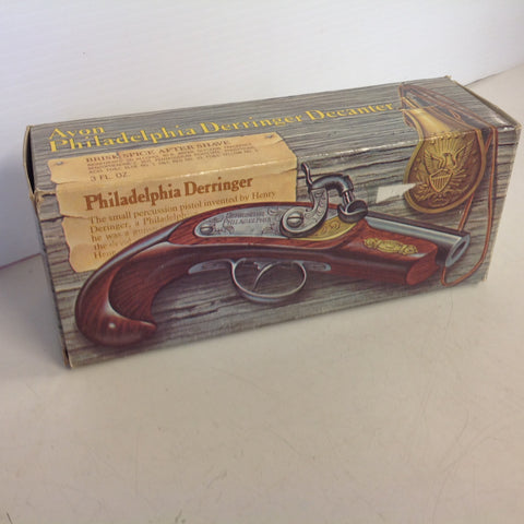 Vintage 1970's AVON Philadelphia Derringer Brisk Spice After Shave 3 Fl Oz Decanter Unopened with Original Box