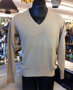 Vintage 1960's - 70's Braemar Pure Cashmere Tan Pull Over Sweater Made In Scotland
