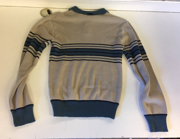 Vintage 1970's Jean Michaud Blue &Tan Pull Over Sweater Soft Retro