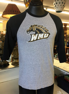 Vintage 1980's WMU Western Michigan University 3/4 Length Sleeve Sports Shirt