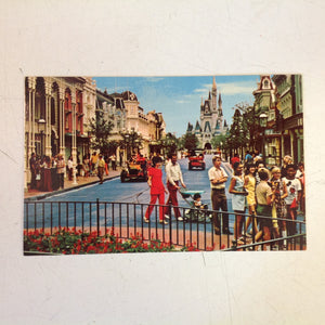 Vintage Walt Disney Productions Souvenir Color Postcard Main Street USA Walt Disney World Florida