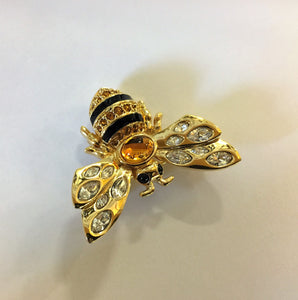 Vintage 1990's Swarovski Bumble Bee Pin Brooch Crystal & Enamel Bug
