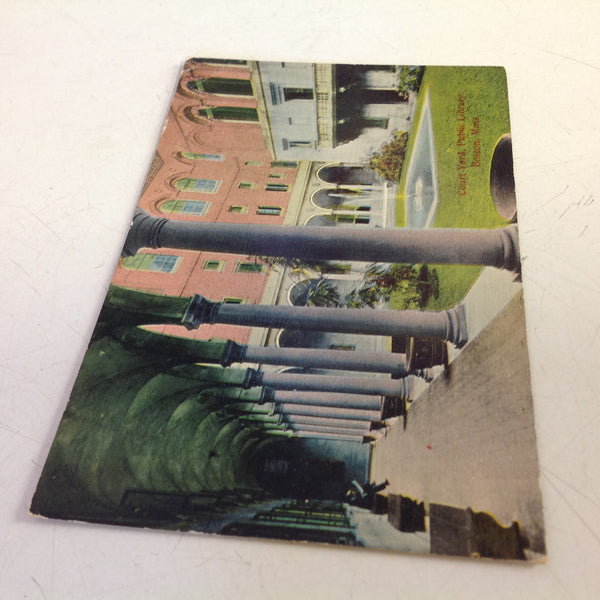 Vintage Color Souvenir Postcard Courtyard Public Library Boston Massachusetts