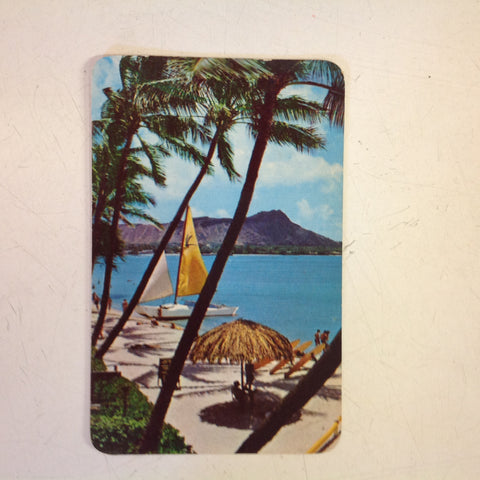 Vintage 1961 Color Postcard Waikiki Beach Hawaii
