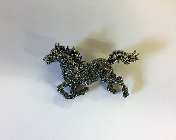 Vintage 1990's OPECKR Marcasite Black Galloping Horse Pin Brooch Silvertone