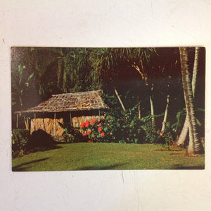 Vintage Color Postcard Princess Kaiulani Robert Louis Stevenson Grass Shack Waioli Tea Room Grounds