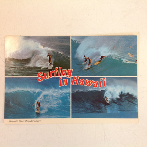Vintage Color Postcard Surfing in Hawaii Most Popular Sport