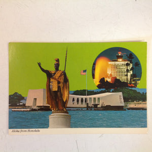 Vintage Color Postcard Aloha From Honolulu Kamehameha WWII Memorial Honolulu International Airport
