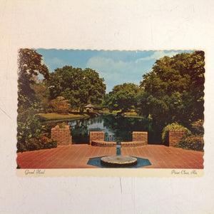 Vintage Color Postcard Grand Hotel Point Clear Alabama Fountain and Lake