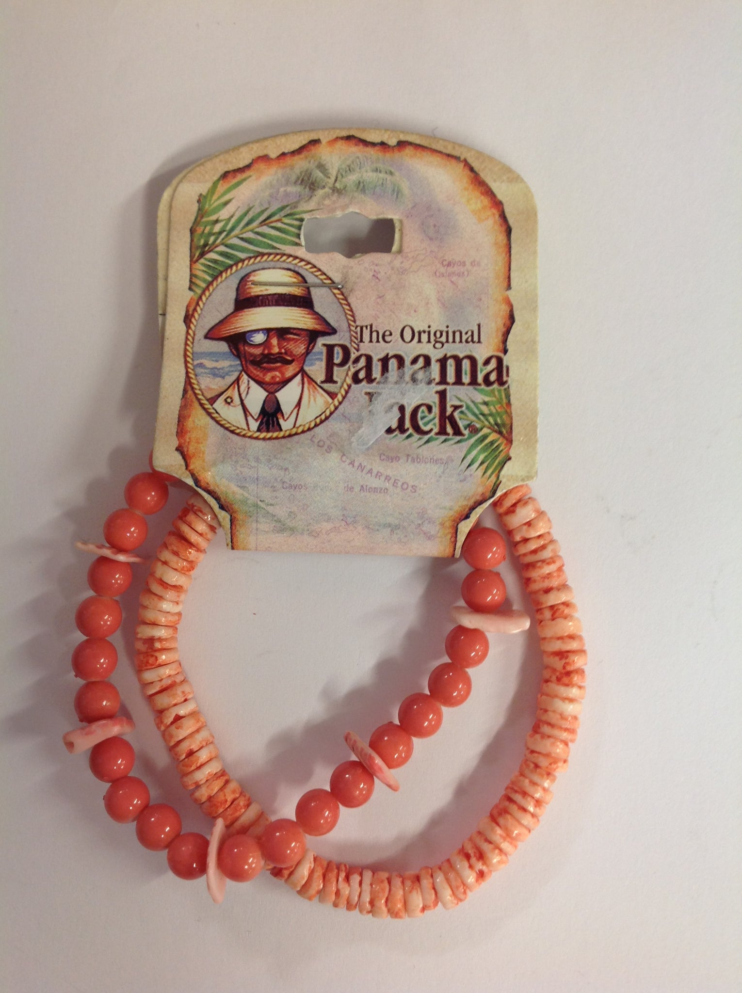 Vintage Authentic Panama Jack Duo Ankle Bracelet in Pink and Salmon Rounded Beads
