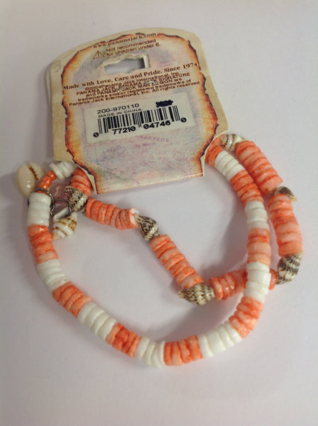 Vintage Authentic Panama Jack Duo Ankle Bracelet in Salmon and White Beads with Shell Accent