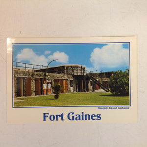 Vintage Color Postcard Fort Gaines Dauphin Island Alabama Tourist Girls