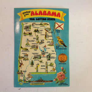 Vintage Dexter Supreme Color Postcard Greetings From Alabama the Cotton State