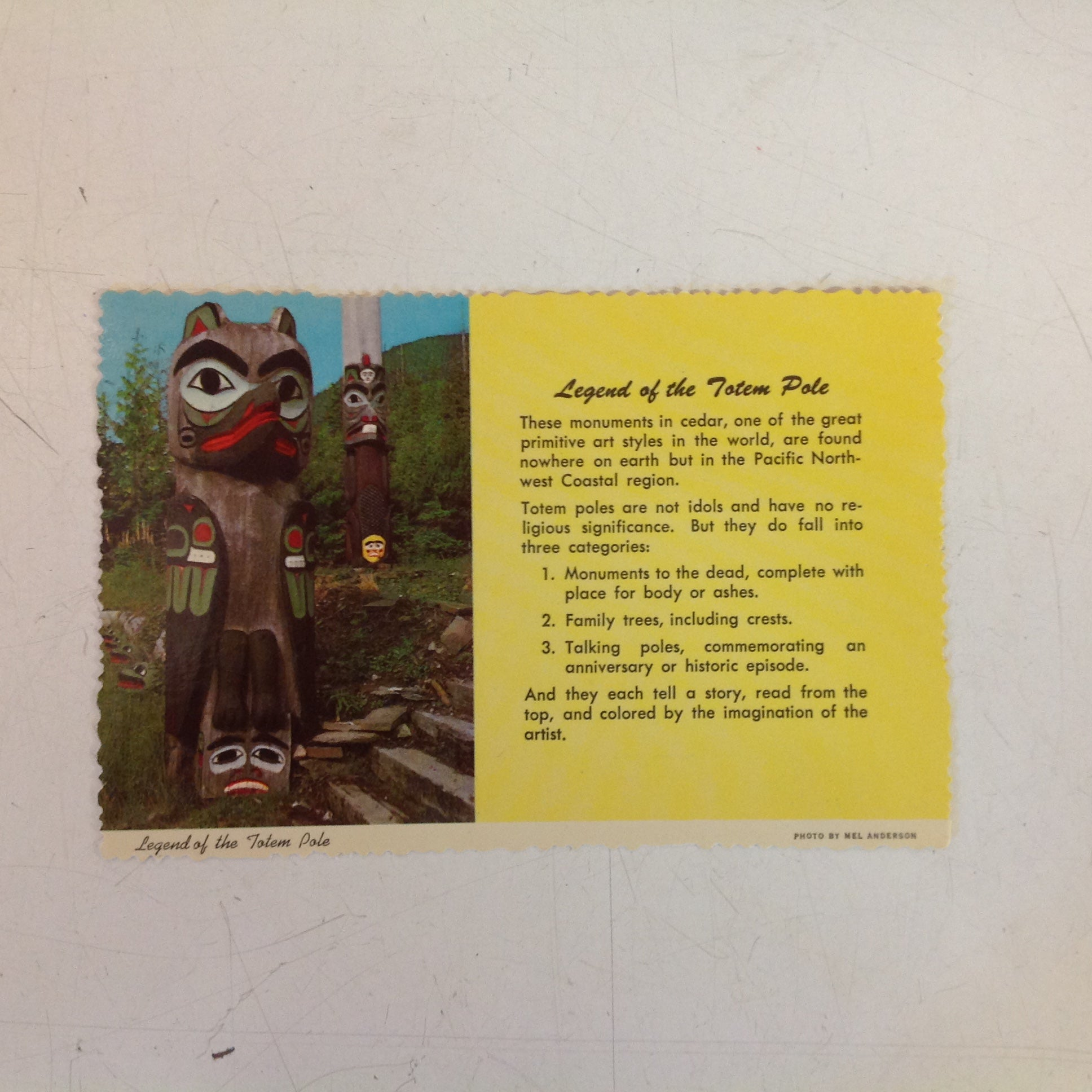 Vintage Curteich Alaska Joe Color Scalloped Edge Postcard Legend of the Totem Pole Anchorage Alaska