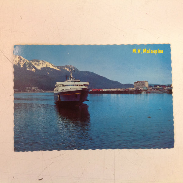 Vintage Continental Card Scalloped Edge Color Postcard Alaska Ferry M V Malaspina Port Federal Building Juneau Alaska