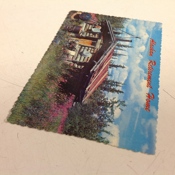 Vintage Alaska Joe Original Plastichrome Scalloped Edged Color Postcard Alaskan Retirement Home