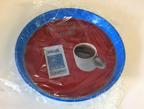 Vintage 1990's EQUAL Sweetener Advertising NOS Round Metal Tray Sealed