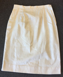 Vintage 1960's '70's Off White Brocade Mini Skirt Wiggle Skirt