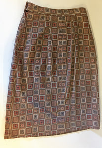 2afa74a6ee Vintage 1970's Brown Checkered Patterned Corduroy Mini Skirt Wiggle Skirt