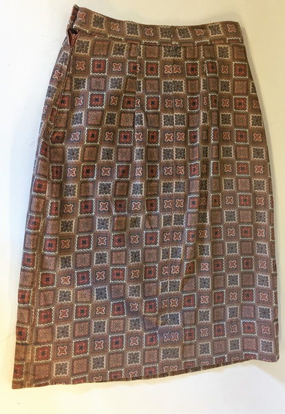 Vintage 1970's Brown Checkered Patterned Corduroy Mini Skirt Wiggle Skirt