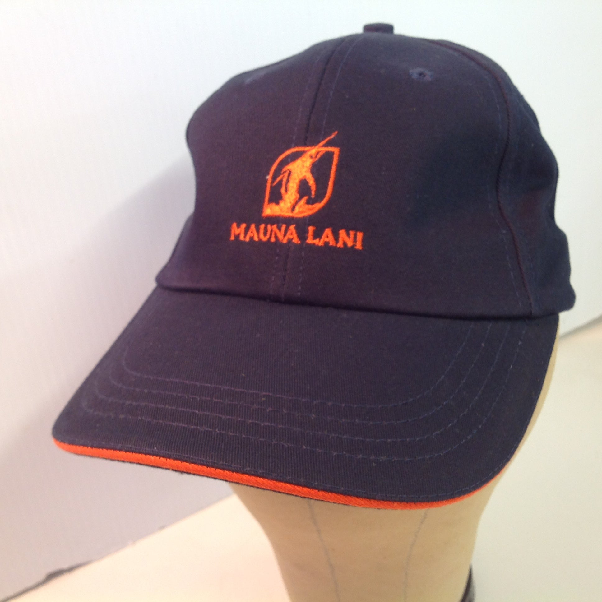 Vintage Texace Pro 98 Black with Orange Piping Mauna Lani Golf Course Hawaii Souvenir Floral Baseball Cap