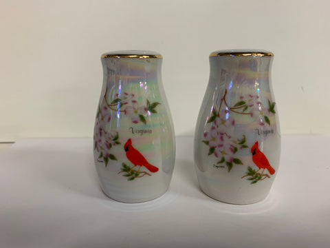 Vintage Souvenir Virginia Iridescent Salt and Pepper Set with Dogwood and Cardinal