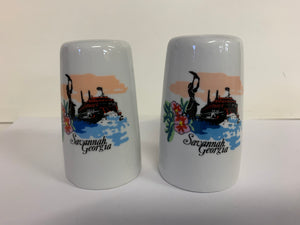 Vintage Souvenir Savannah Georgia Salt and Pepper Set with Steamboat Scene