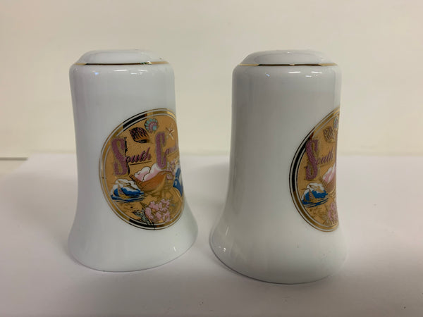 Vintage Souvenir South Carolina Salt and Pepper Shaker Set with Beach Motif