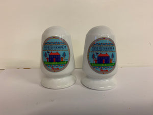 Vintage Souvenir Erco Florida Salt and Pepper Shaker Set with Americana Needlepoint Motif