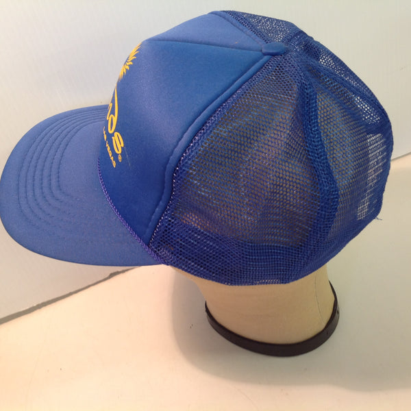 Vintage Headmost Sands Hotel and Casino Las Vegas Nevada Souvenir Royal Blue Trucker's Cap