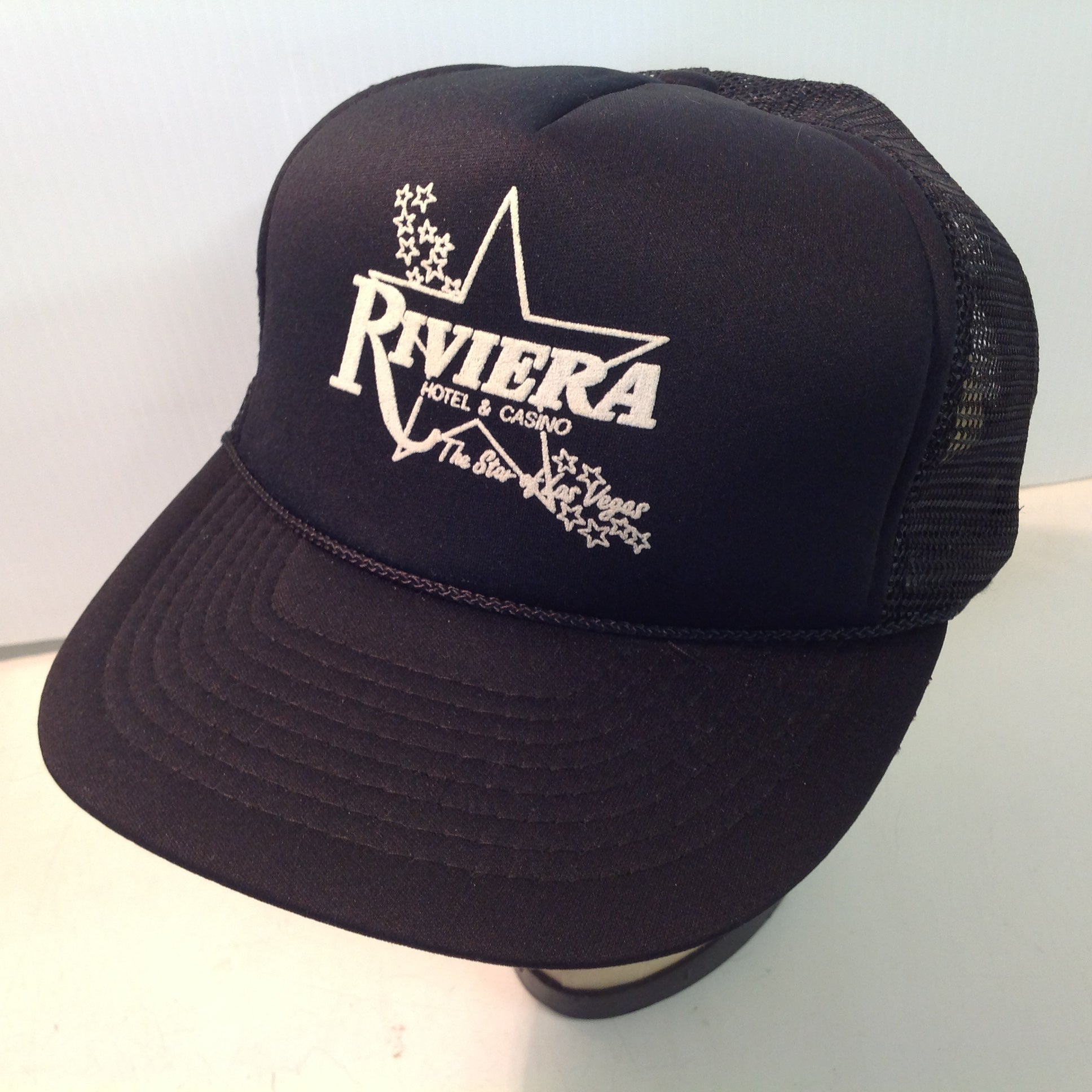 Vintage Frank Lee Imports Riviera Hotel and Casino The Star Souvenir Black Trucker Cap