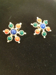 Vintage Clip On Earrings Jolly Candy Red Blue Green Linked Star Filigree Goldtone