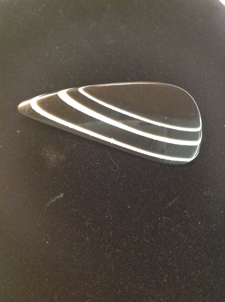 Vintage Black Plastic Brooch Pin Whitestriped Lake Rock Effect