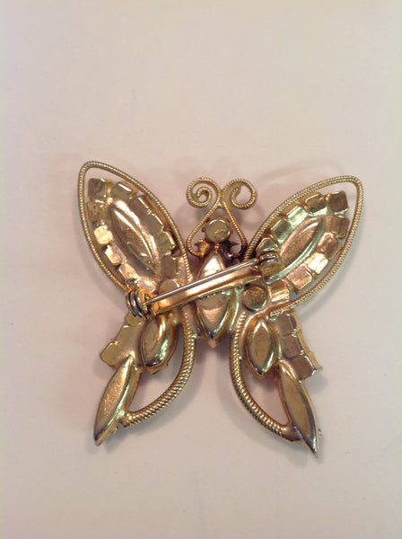 Vintage Brooch Pin Goldtone Rhinestone Steampunk Volcanic Butterfly