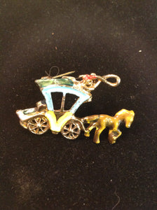 Vintage Painted Metal Goldtone Brooch Pin Horse and Carriage Whimsical