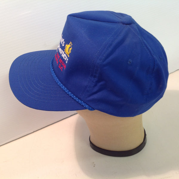 Vintage YoungAn Hat Company Souvenir Captain's Quarters Family and Golf Resort Myrtle Beach South Carolina Royal Blue Baseball Cap