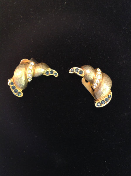 Vintage Hobe Clip-On Earrings Goldtone Blue Clear Rhinestones Diamond Croissant Style Cool