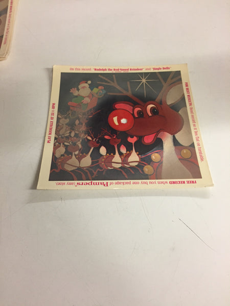 Vintage Rudolph The Red Nose Reindeer Cardboard 45 Record GWP Pampers