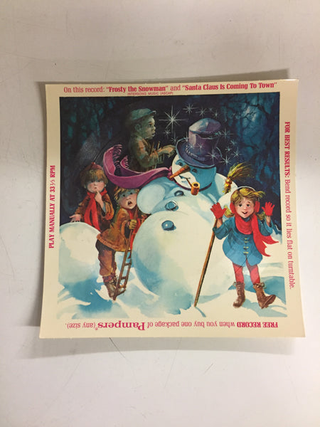 Vintage 1970's Frosty The Snowman Cardboard Record 45 Pampers GWP