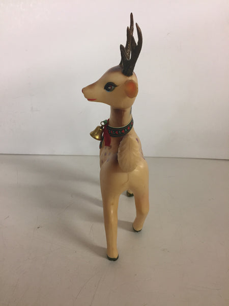 Vintage 1950 Rubber Christmas Deer Figure Holiday Bell