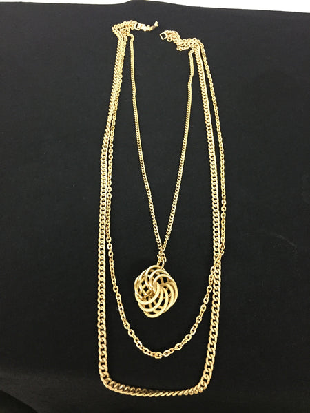 Vintage All Goldtone Pendant Necklace Multi Chains Retro Made In Germany