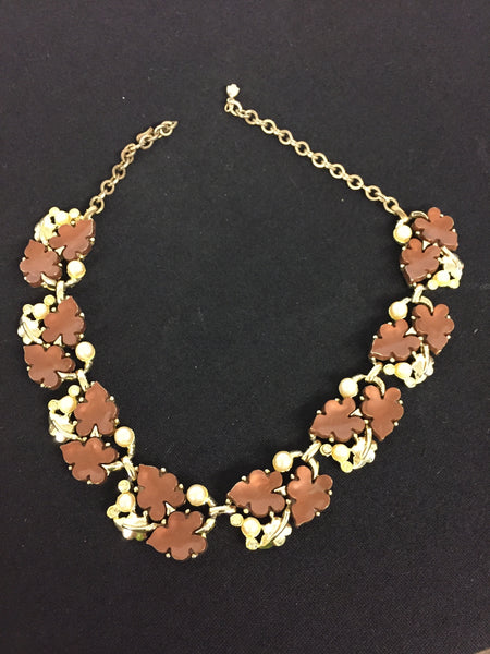 Beautiful Vintage Goldtone Brown Thermoplastic Leaves Rhinestone Pearl Collar Necklace